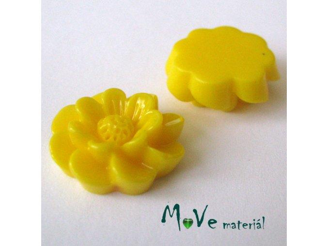 Kabošon květ lesklý F2 - resin - 2ks, žlutý