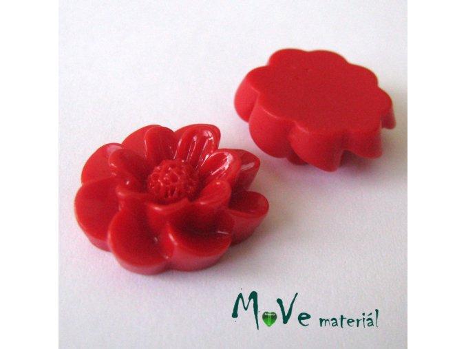 Kabošon květ lesklý F2 - resin - 2ks, červený