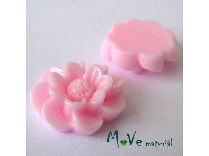 Kabošon květ lesklý F2 - resin - 2ks, sv. růžový