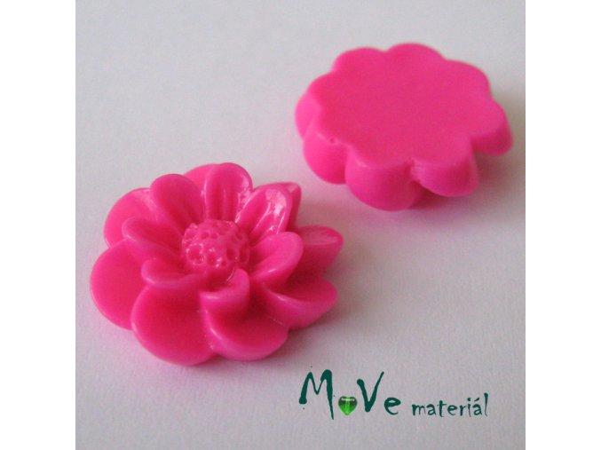 Kabošon květ lesklý F2 - resin - 2ks, tm. růžový