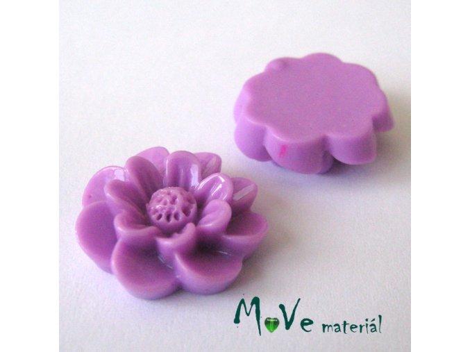 Kabošon květ lesklý F2 - resin - 2ks, fialový