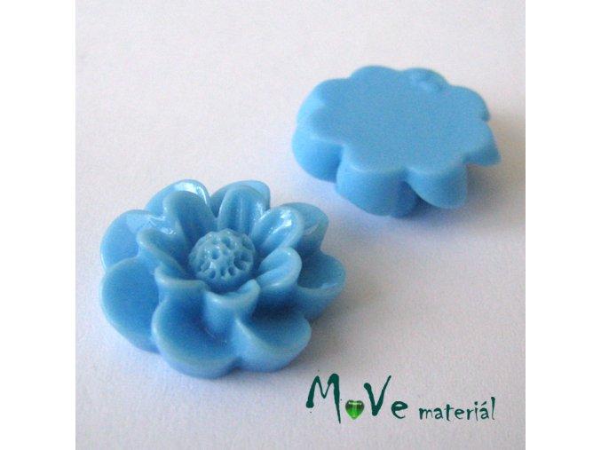 Kabošon květ lesklý F2 - resin - 2ks, modrý