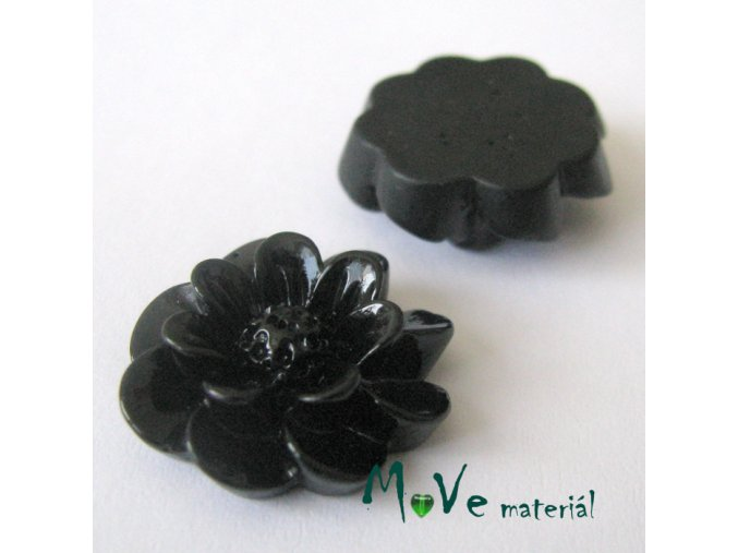 Kabošon květ lesklý F2 - resin - 2ks, černý
