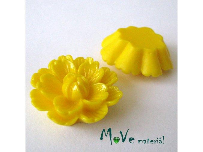 Kabošon květ lesklý F4 - resin - 1ks, žlutý