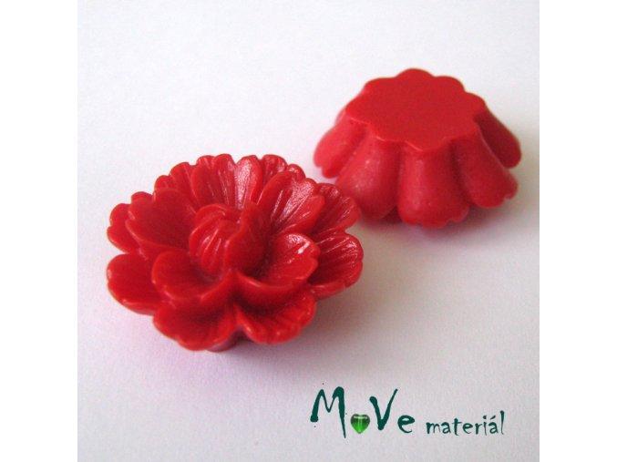 Kabošon květ lesklý F4 - resin - 1ks, červený