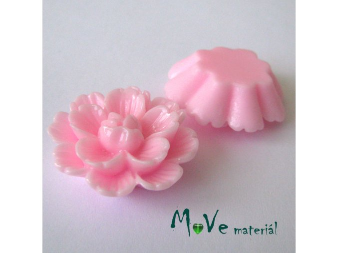 Kabošon květ lesklý F4 - resin - 1ks, sv. růžový