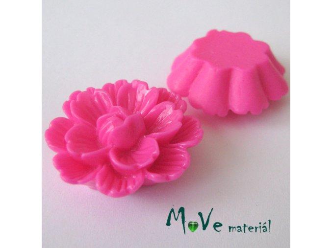 Kabošon květ lesklý F4 - resin - 1ks, tm. růžový