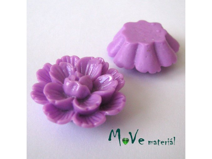 Kabošon květ lesklý F4 - resin - 1ks, fialový