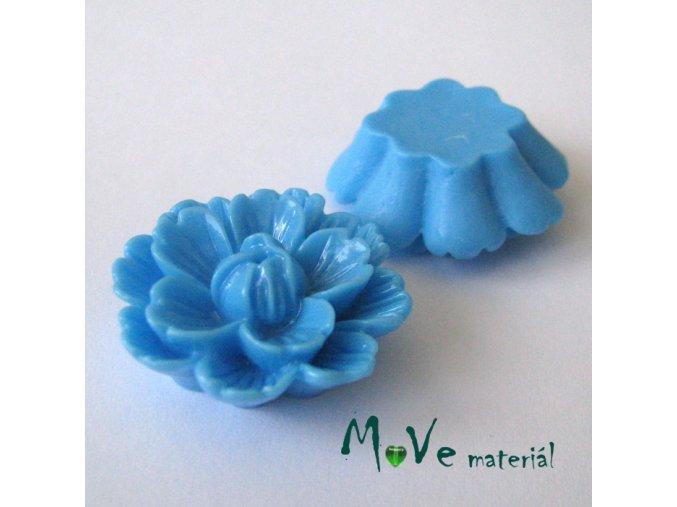 Kabošon květ lesklý F4 - resin - 1ks, modrý