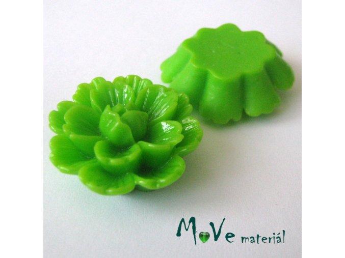 Kabošon květ lesklý F4 - resin - 1ks, zelený