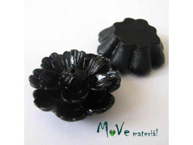 Kabošon květ lesklý F4 - resin - 1ks, černý