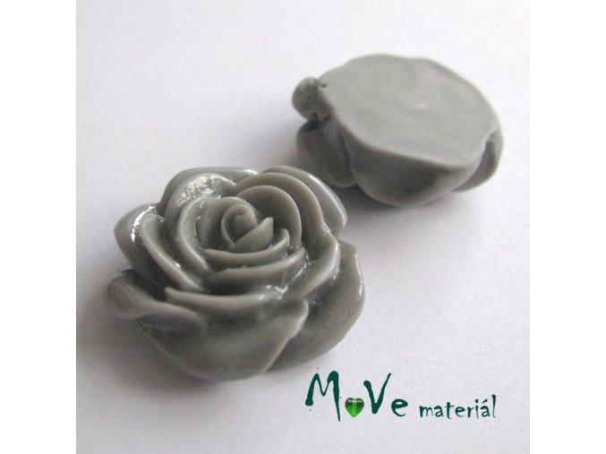 Kabošon růže lesklá D5 - resin - 2ks, šedý