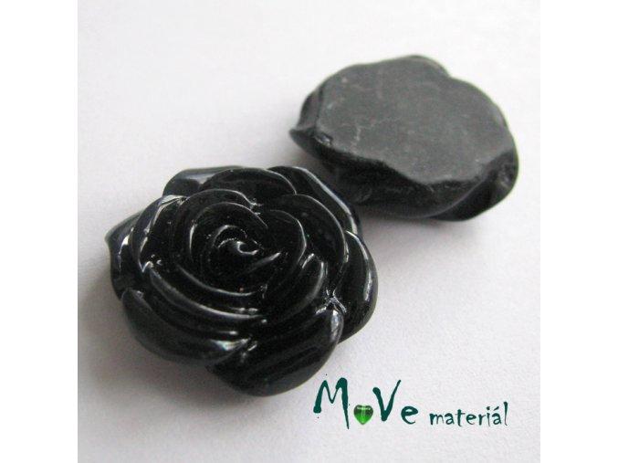 Kabošon růže lesklá D5 - resin - 2ks, černý