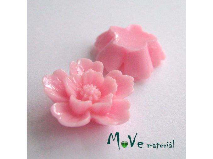 Kabošon květ lesklý - resin - 2ks, sv. růžový