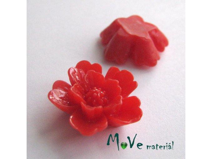 Kabošon květ lesklý - resin - 2ks, červený