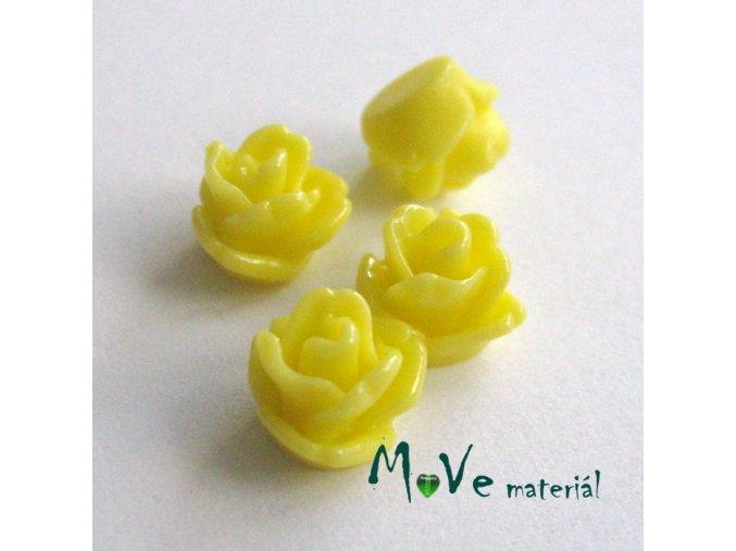 Kabošon růžička lesklá D4 - resin - 4ks, žlutý