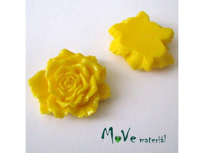 Kabošon květ lesklý D9- resin - 1ks, žlutý