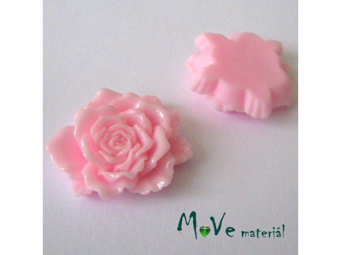 Kabošon květ lesklý D9- resin - 1ks, sv.růžový