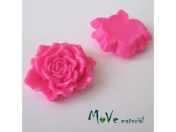 Kabošon květ lesklý D9- resin - 1ks, tm.růžový