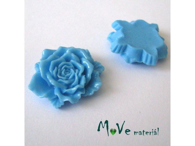 Kabošon květ lesklý D9- resin - 1ks, modrý