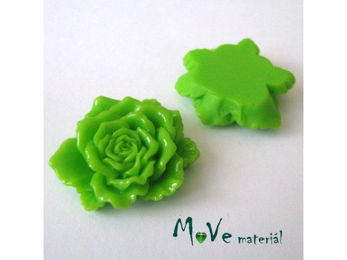 Kabošon květ lesklý D9- resin - 1ks, zelený