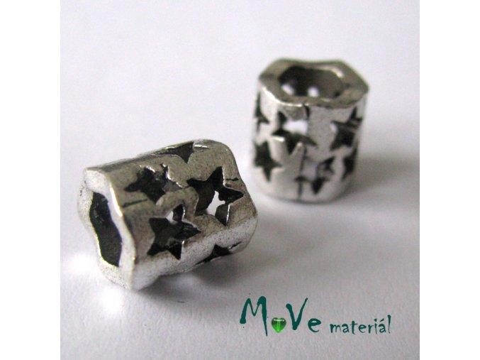 Korálek kovový hvězdy, 1 kus, starostříbro