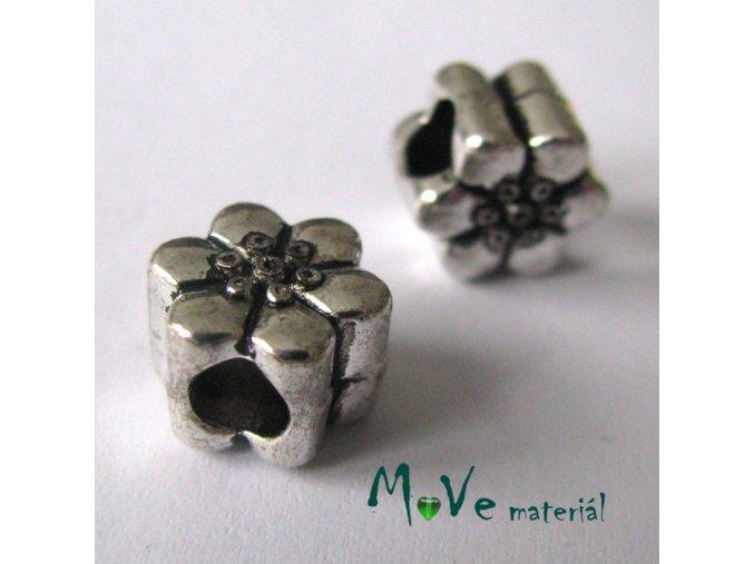 Korálek kovový květ, 1 kus, starostříbro