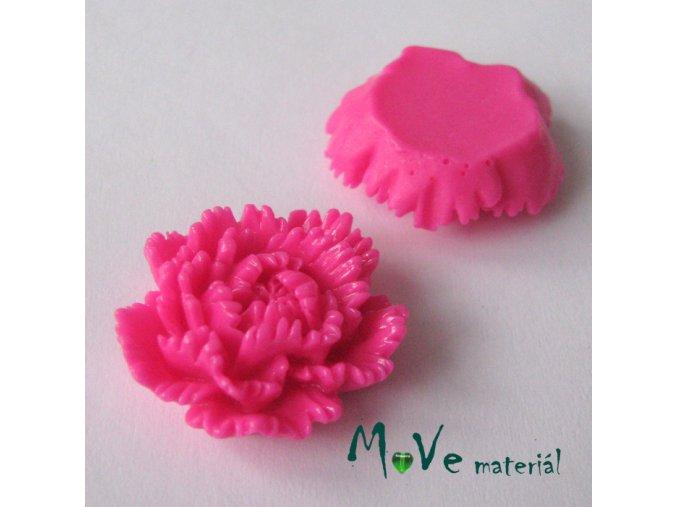 Kabošon květ lesklý F5 - resin - 1ks, tm. růžový