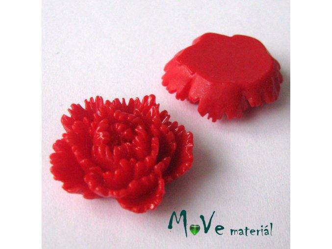 Kabošon květ lesklý F5 - resin - 1ks, červený