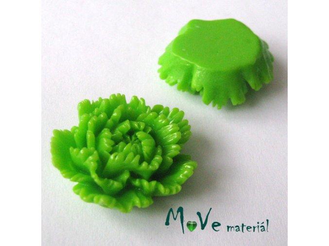 Kabošon květ lesklý F5 - resin - 1ks, zelený