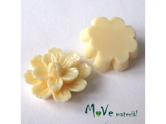 Kabošon květ lesklý F3 - resin - 2ks, vanilkový