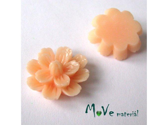 Kabošon květ lesklý F3 - resin - 2ks, meruňkový