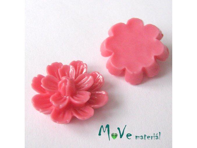 Kabošon květ lesklý F3 - resin - 2ks, růžový