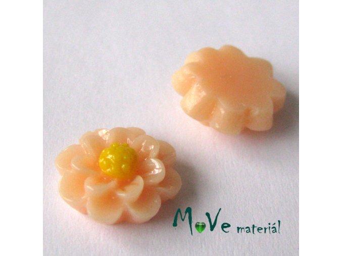 Kabošon květ lesklý F1 - resin - 2ks, meruňkový