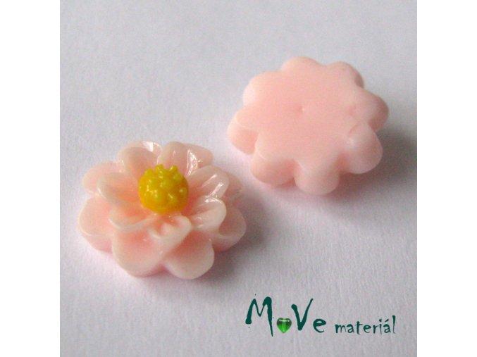 Kabošon květ lesklý F1 - resin - 2ks, sv. růžový