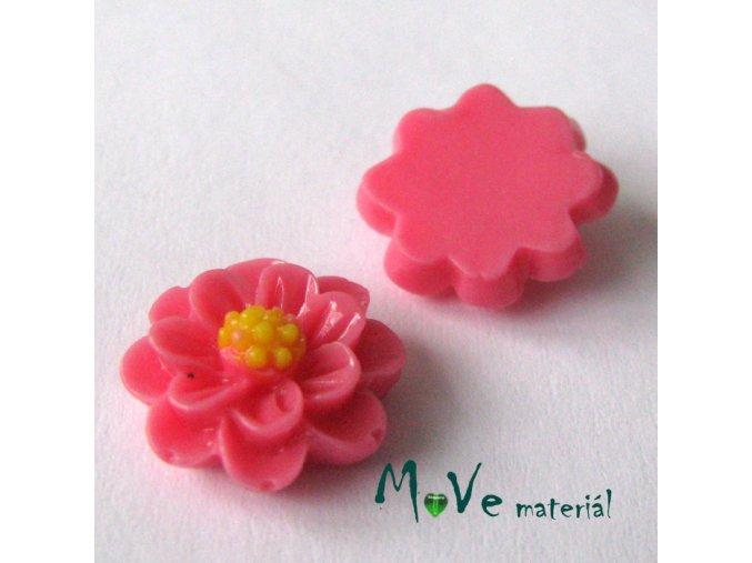 Kabošon květ lesklý F1 - resin - 2ks, růžový