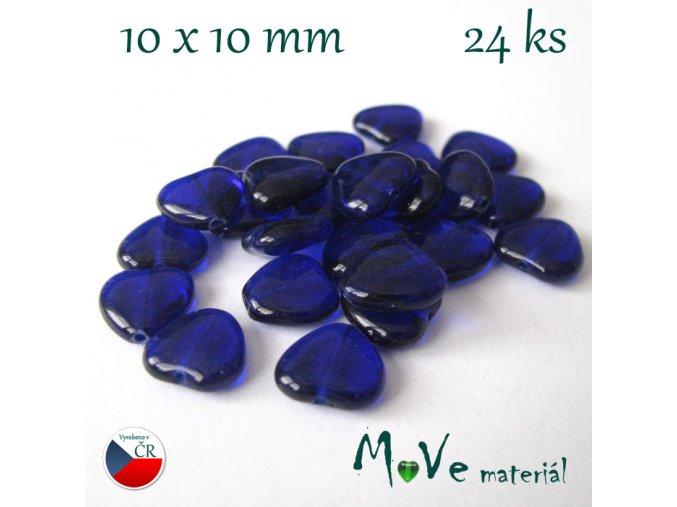 Česká modrá srdíčka 10mm 24ks