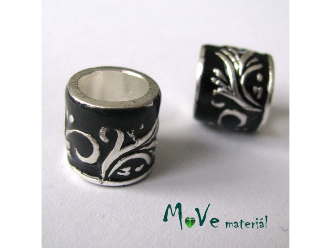 Korálek kovový široký průvlek, 1 kus, černý