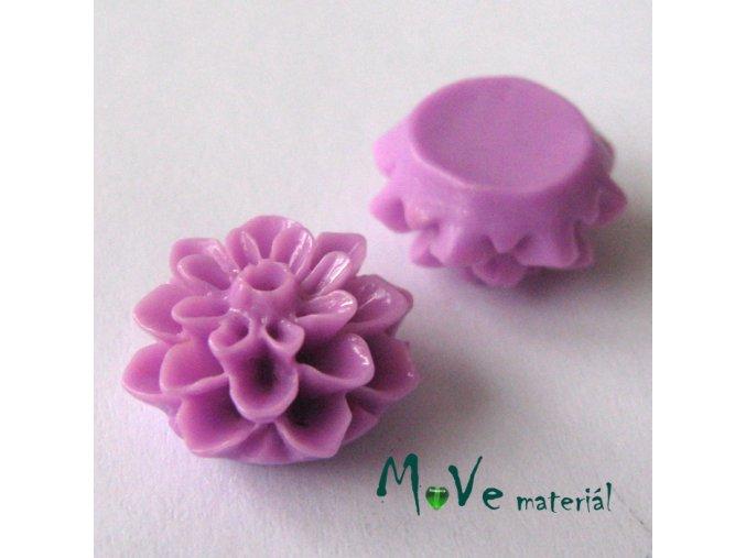Kabošon květ lesklý A7 - resin - 2ks, růžovofialový