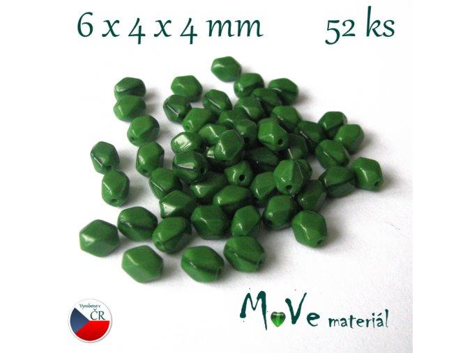 České zelené tvarované korálky 6x4x4mm 52ks