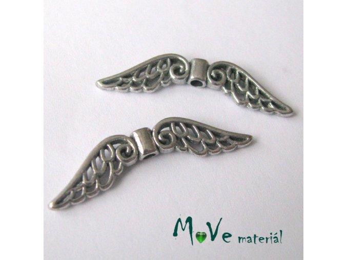 Korálek kovový 6x32mm křídla, 2ks, starostříbro