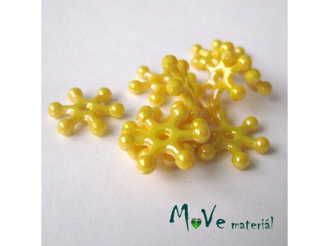 Plastový mezikus - hvězdička, 10kusů, žlutá