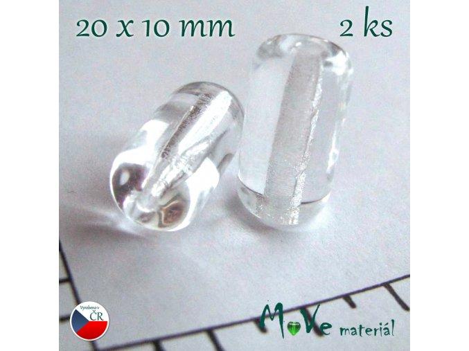 České skleněné průhledné trubičky 20 x 10mm 2ks