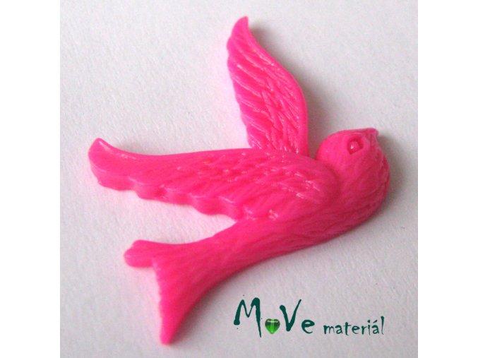 Kabošon ptáček - resin - 1ks, tm. růžový