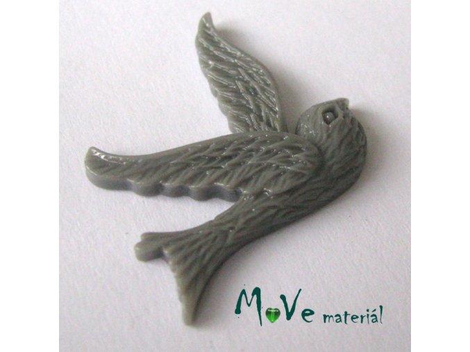 Kabošon ptáček - resin - 1ks, šedý