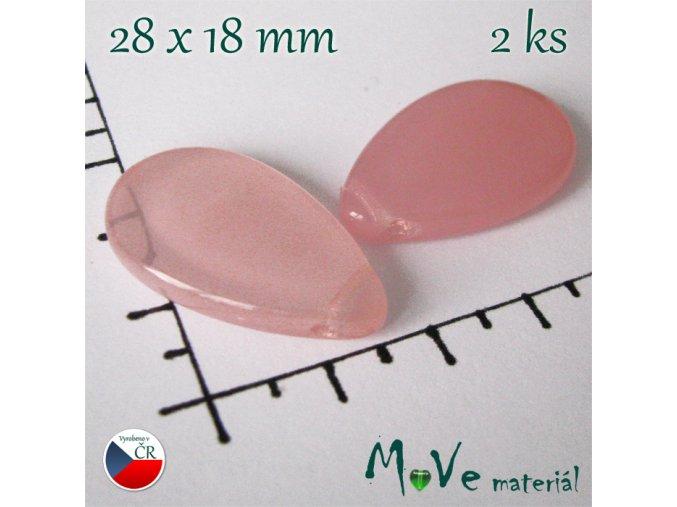Česká skleněná růžová slza 28x18mm 2 ks