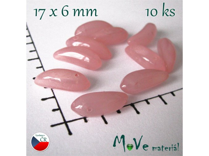 České skleněné růžové banány 17x6mm 10 ks