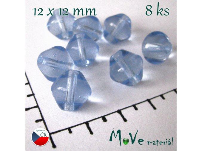 České skleněné modré lampionky 12x12 mm 8 ks