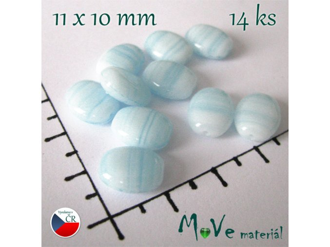 České skleněné modré žíhané oválky 11x10 mm 14 ks