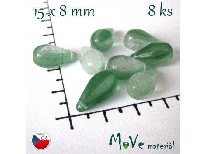 České skleněné zelené kapky 15x8 mm 8ks
